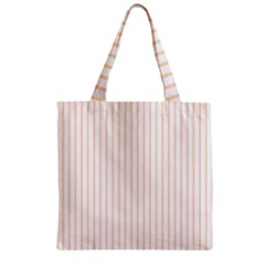 Soft Peach Pinstripe on White Zipper Grocery Tote Bag