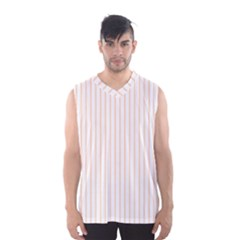 Soft Peach Pinstripe on White Men s Basketball Tank Top