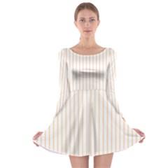Soft Peach Pinstripe on White Long Sleeve Skater Dress