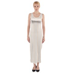 Soft Peach Pinstripe on White Fitted Maxi Dress