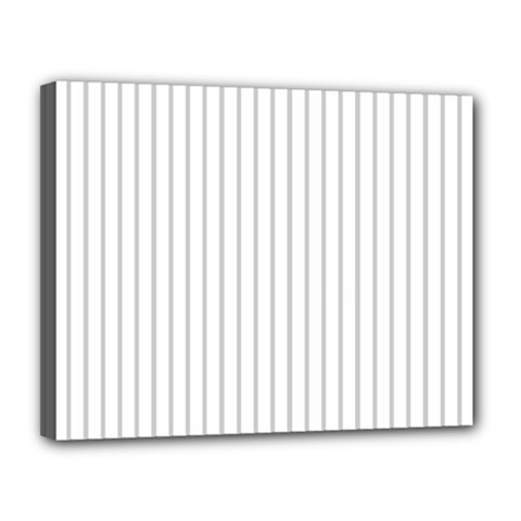 Dove Grey Pin Stripes on White Canvas 14  x 11