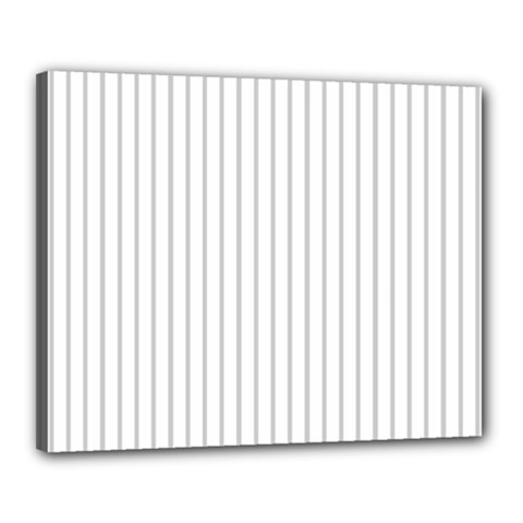 Dove Grey Pin Stripes on White Canvas 20  x 16