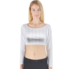Dove Grey Pin Stripes on White Long Sleeve Crop Top
