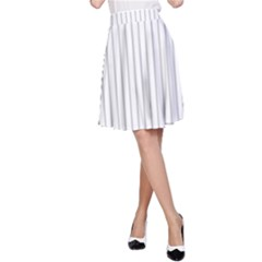 Dove Grey Pin Stripes on White A-Line Skirt