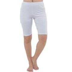 Dove Grey Pin Stripes on White Cropped Leggings