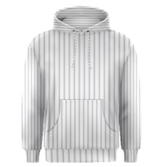 Dove Grey Pin Stripes on White Men s Pullover Hoodie
