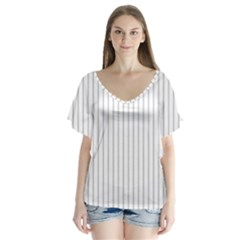 Dove Grey Pin Stripes on White Flutter Sleeve Top