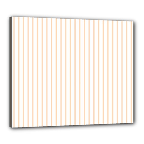Pale Cucumber Pin Stripe on White Canvas 24  x 20