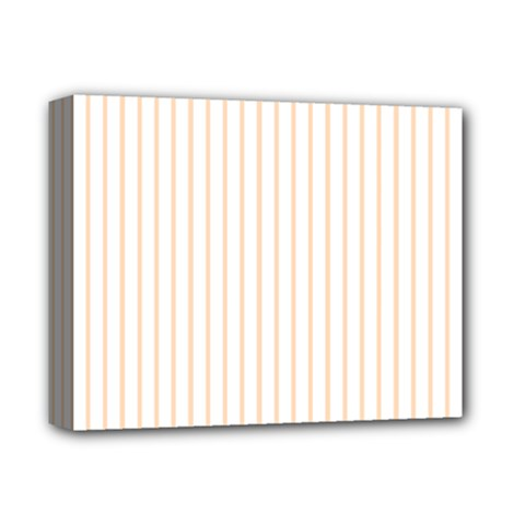 Pale Cucumber Pin Stripe on White Deluxe Canvas 14  x 11