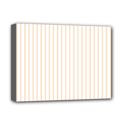 Pale Cucumber Pin Stripe on White Deluxe Canvas 16  x 12