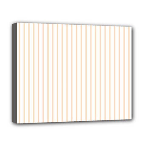 Pale Cucumber Pin Stripe on White Deluxe Canvas 20  x 16