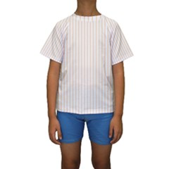 Pale Cucumber Pin Stripe on White Kids  Short Sleeve Swimwear