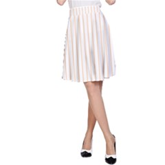Pale Cucumber Pin Stripe on White A-Line Skirt