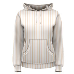 Pale Cucumber Pin Stripe on White Women s Pullover Hoodie