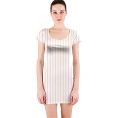 Pale Cucumber Pin Stripe on White Short Sleeve Bodycon Dress
