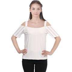 Pale Cucumber Pin Stripe on White Women s Cutout Shoulder Tee