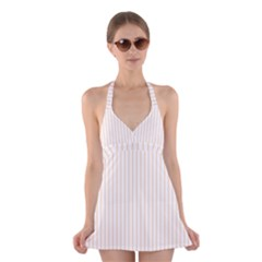 Pale Cucumber Pin Stripe on White Halter Swimsuit Dress