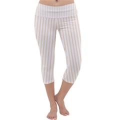 Pale Cucumber Pin Stripe on White Capri Yoga Leggings