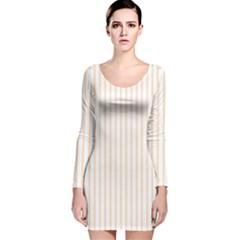Pale Cucumber Pin Stripe on White Long Sleeve Velvet Bodycon Dress