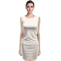 Pale Cucumber Pin Stripe on White Classic Sleeveless Midi Dress