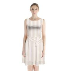 Pale Cucumber Pin Stripe on White Sleeveless Waist Tie Chiffon Dress