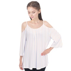 Pale Cucumber Pin Stripe on White Flutter Tees