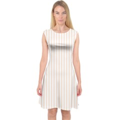 Pale Cucumber Pin Stripe on White Capsleeve Midi Dress