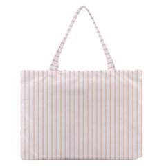 Pale Cucumber Pin Stripe on White Medium Zipper Tote Bag