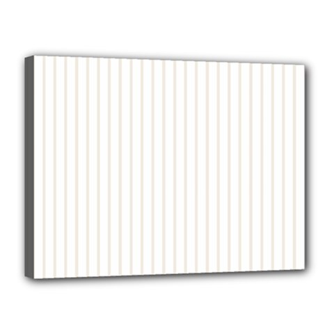 Classic Cream Pin Stripes on White Canvas 16  x 12