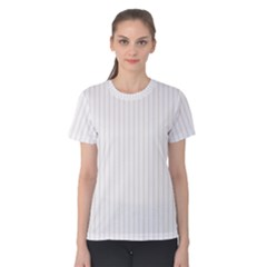 Classic Cream Pin Stripes on White Women s Cotton Tee