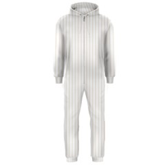 Classic Cream Pin Stripes on White Hooded Jumpsuit (Men)