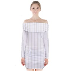 Classic Cream Pin Stripes on White Long Sleeve Off Shoulder Dress