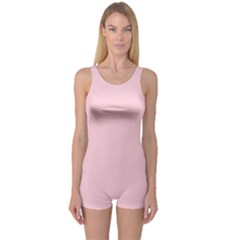 Light Soft Pastel Pink Solid Color One Piece Boyleg Swimsuit