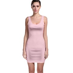 Light Soft Pastel Pink Solid Color Sleeveless Bodycon Dress