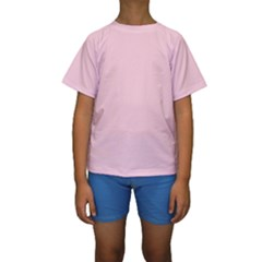Light Soft Pastel Pink Solid Color Kids  Short Sleeve Swimwear