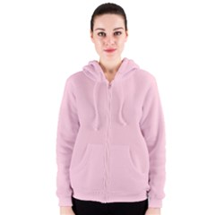 Light Soft Pastel Pink Solid Color Women s Zipper Hoodie