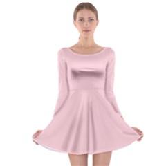 Light Soft Pastel Pink Solid Color Long Sleeve Skater Dress