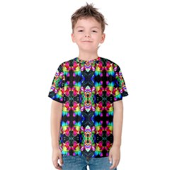 Colorful Bright Seamless Flower Pattern Kids  Cotton Tee