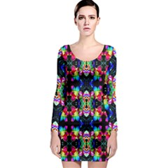 Colorful Bright Seamless Flower Pattern Long Sleeve Bodycon Dress