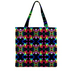 Colorful Bright Seamless Flower Pattern Zipper Grocery Tote Bag