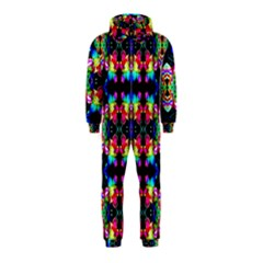 Colorful Bright Seamless Flower Pattern Hooded Jumpsuit (Kids)