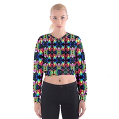 Colorful Bright Seamless Flower Pattern Cropped Sweatshirt