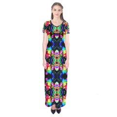 Colorful Bright Seamless Flower Pattern Short Sleeve Maxi Dress