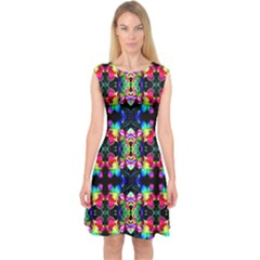 Colorful Bright Seamless Flower Pattern Capsleeve Midi Dress
