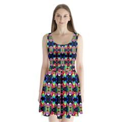 Colorful Bright Seamless Flower Pattern Split Back Mini Dress