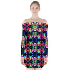 Colorful Bright Seamless Flower Pattern Long Sleeve Off Shoulder Dress