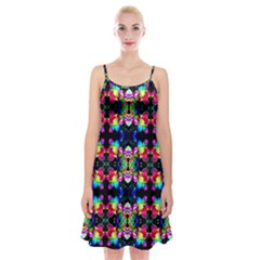 Colorful Bright Seamless Flower Pattern Spaghetti Strap Velvet Dress