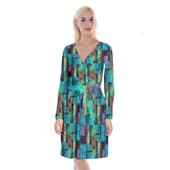 Abstract Square Wall Long Sleeve Velvet Front Wrap Dress