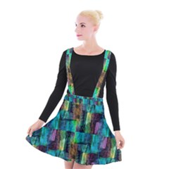Abstract Square Wall Suspender Skater Skirt