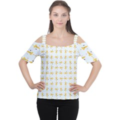 Spaceships Pattern Women s Cutout Shoulder Tee